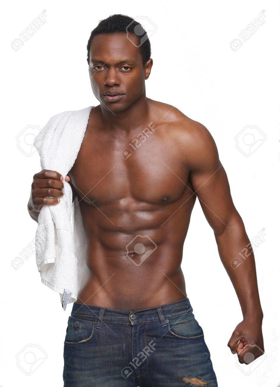 Portrait Of A Muscular African American Man With No Shirt Stock