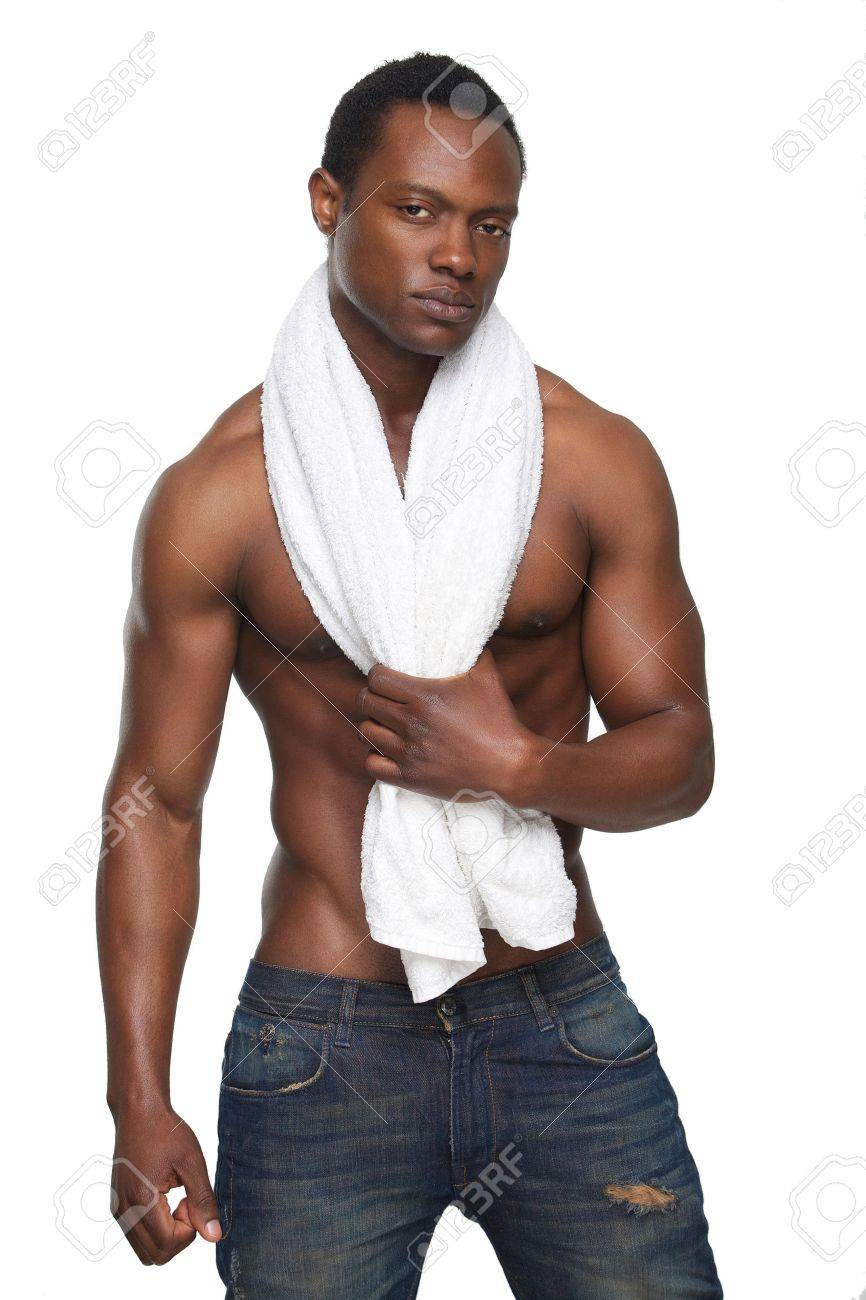 Portrait of a handsome african american man with towel Stock Photo - 18550551
