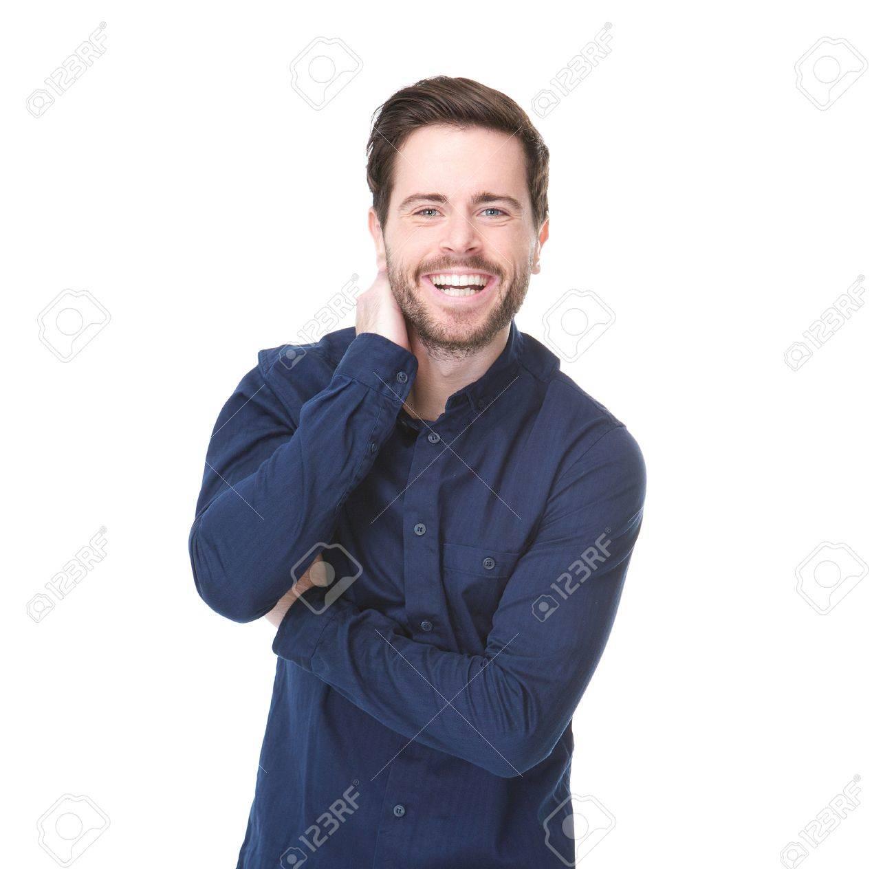 Homme Souriant gros plan portrait de jeune homme souriant sur fond blanc isolé
