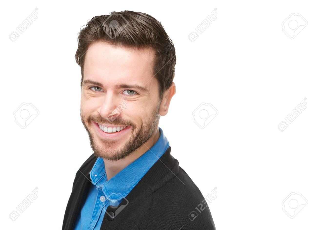 Homme Souriant closeup portrait d'un séduisant jeune homme souriant sur fond blanc