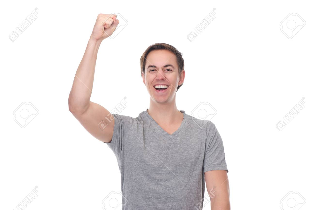 Close up portrait of a man with arm raised up in celebration isolated on white Stock Photo - 24209890