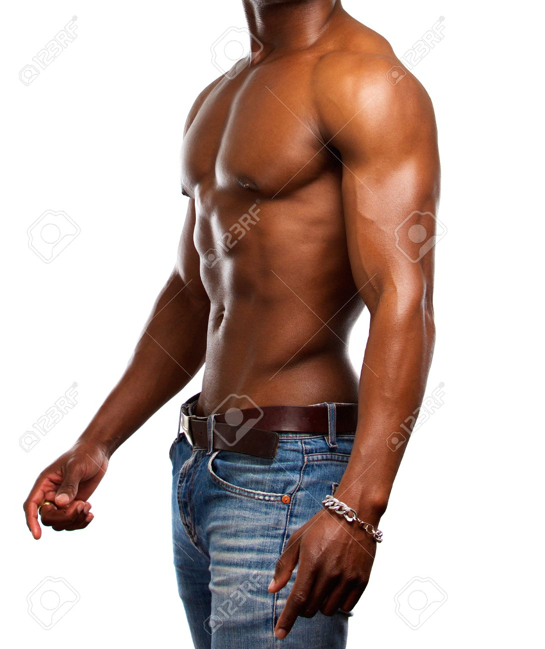 Side Portrait Of A Healthy Muscular Man With No Shirt Stock Photo