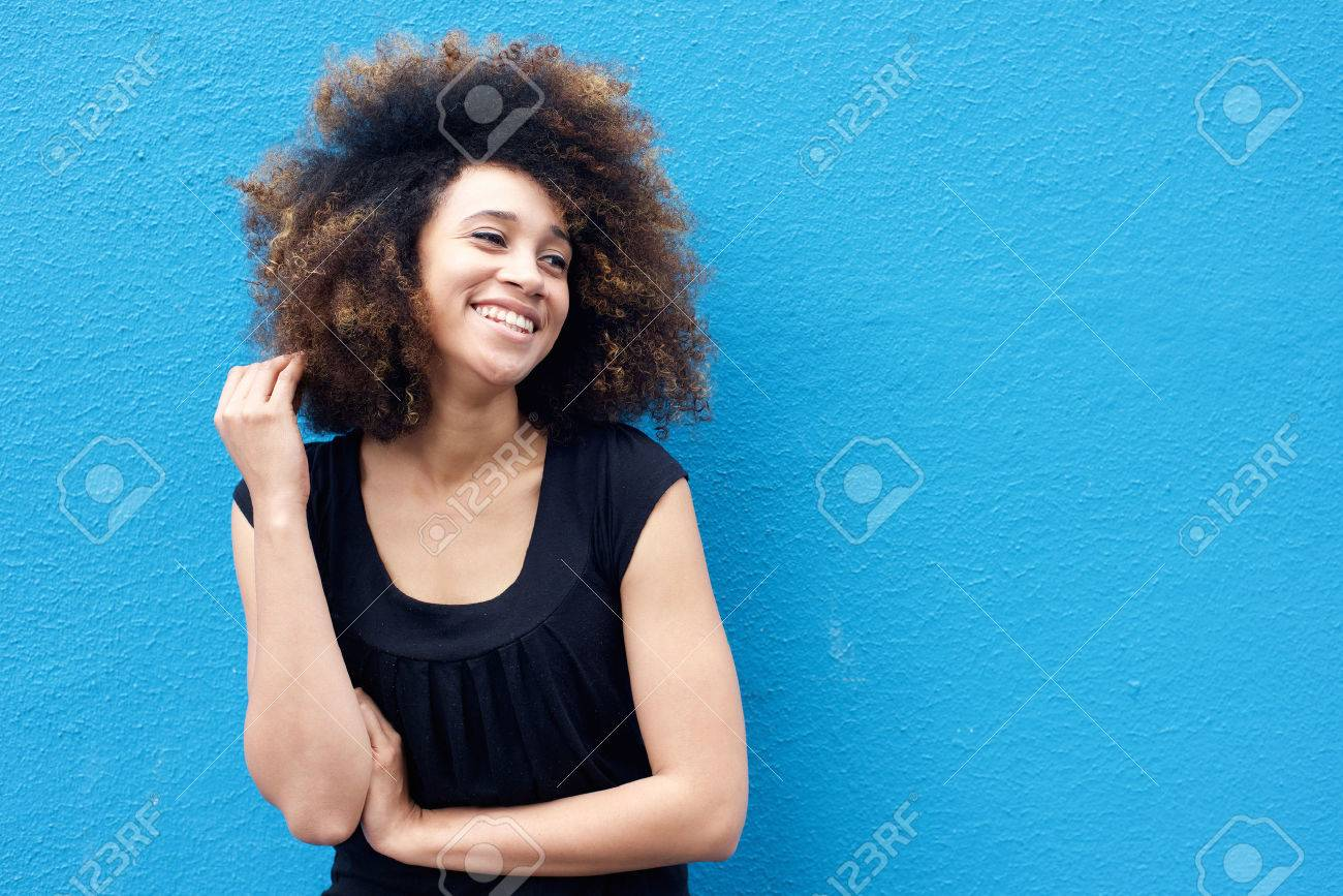 Portrait of smiling african woman with afro hairstyle Standard-Bild - 50873605