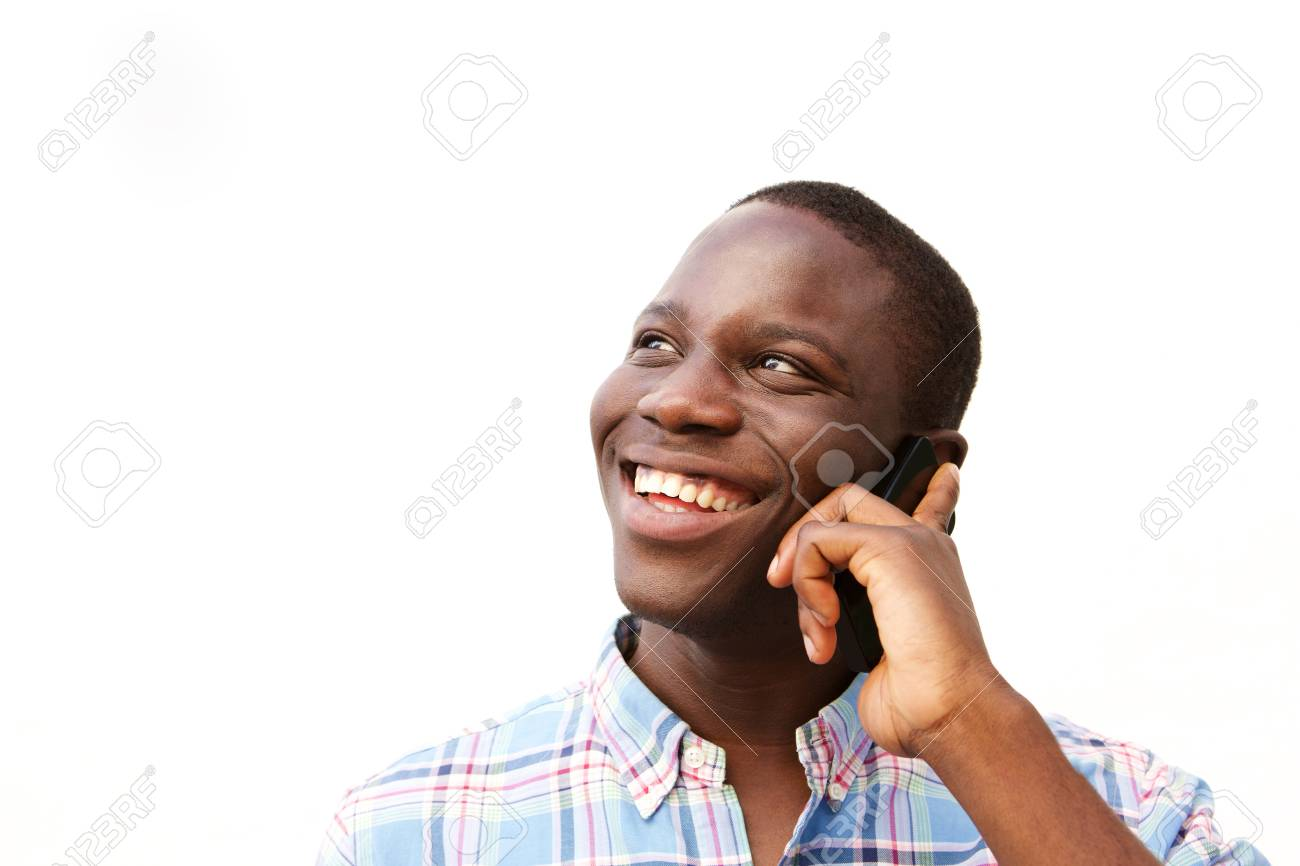 Close Up Portrait Of Happy Black Guy Talking On Mobile Phone Stock Photo Picture And Royalty Free Image Image 92736461