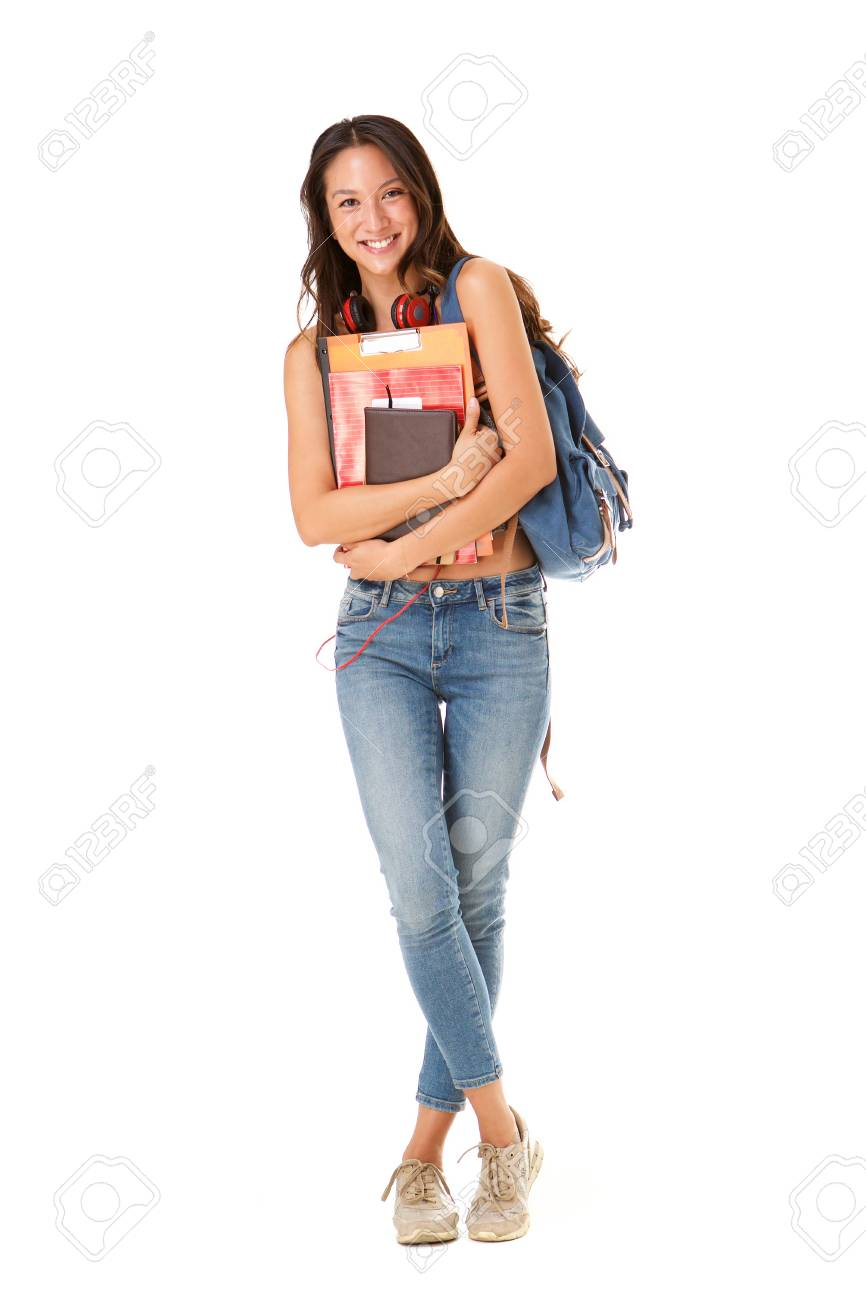 Full length portrait of smiling asian college student against isolated white background - 113179704