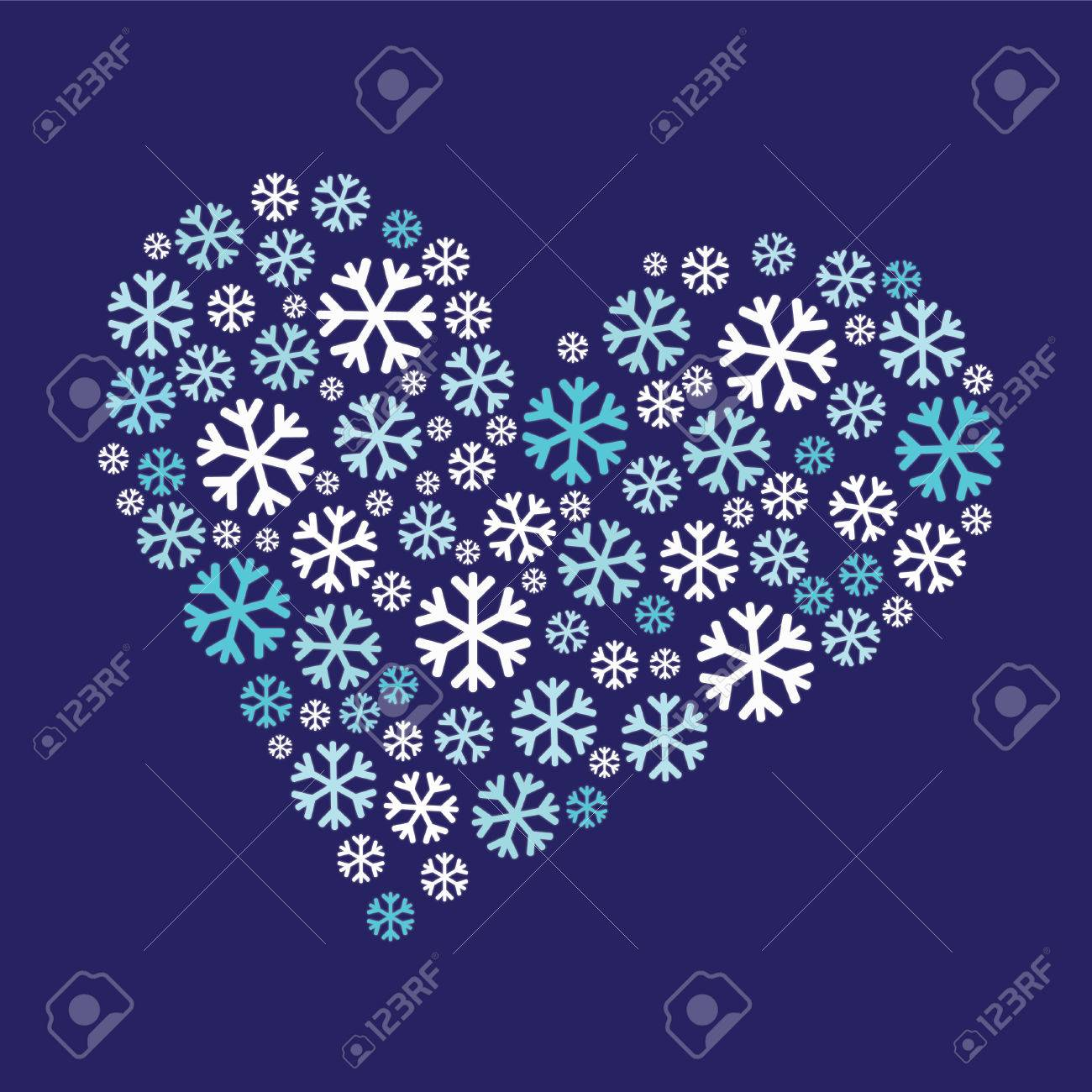 Heart Shape Made From Snowflakes Stock Photo Picture And Royalty
