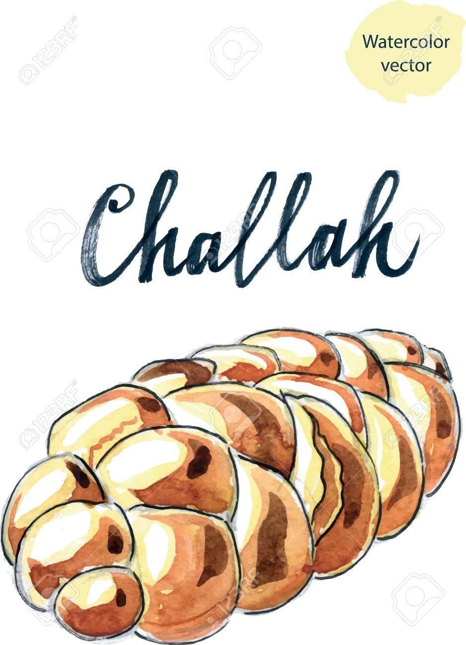 Challah tressé juif, aquarelle , vecteur Illustration Banque d\u0027images ,  47923930