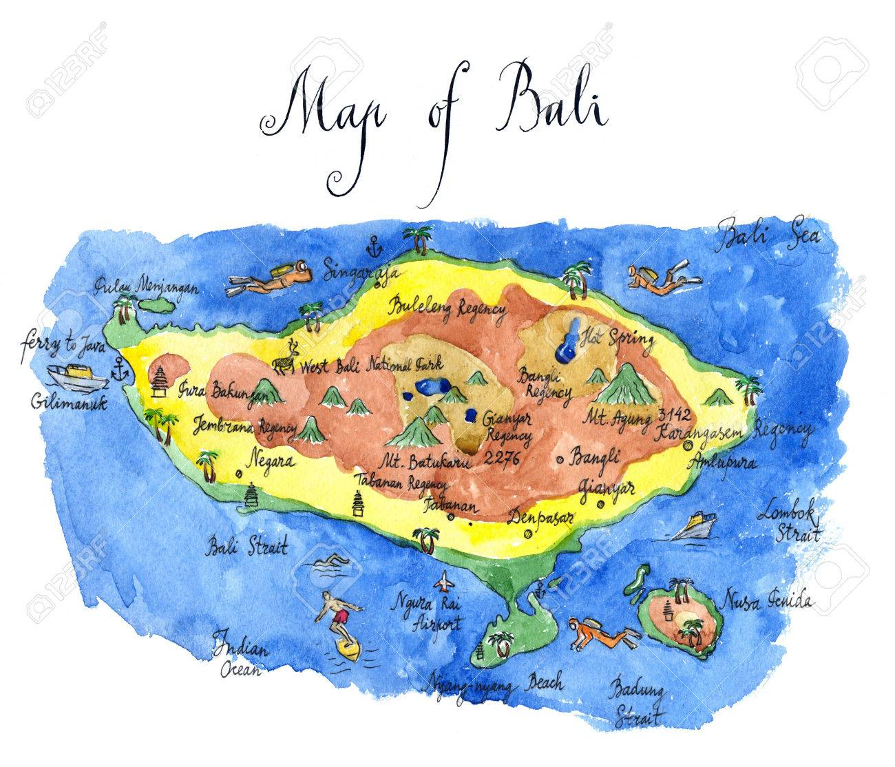 Map Bali Attractions Hand Drawn Watercolor Illustration Stock