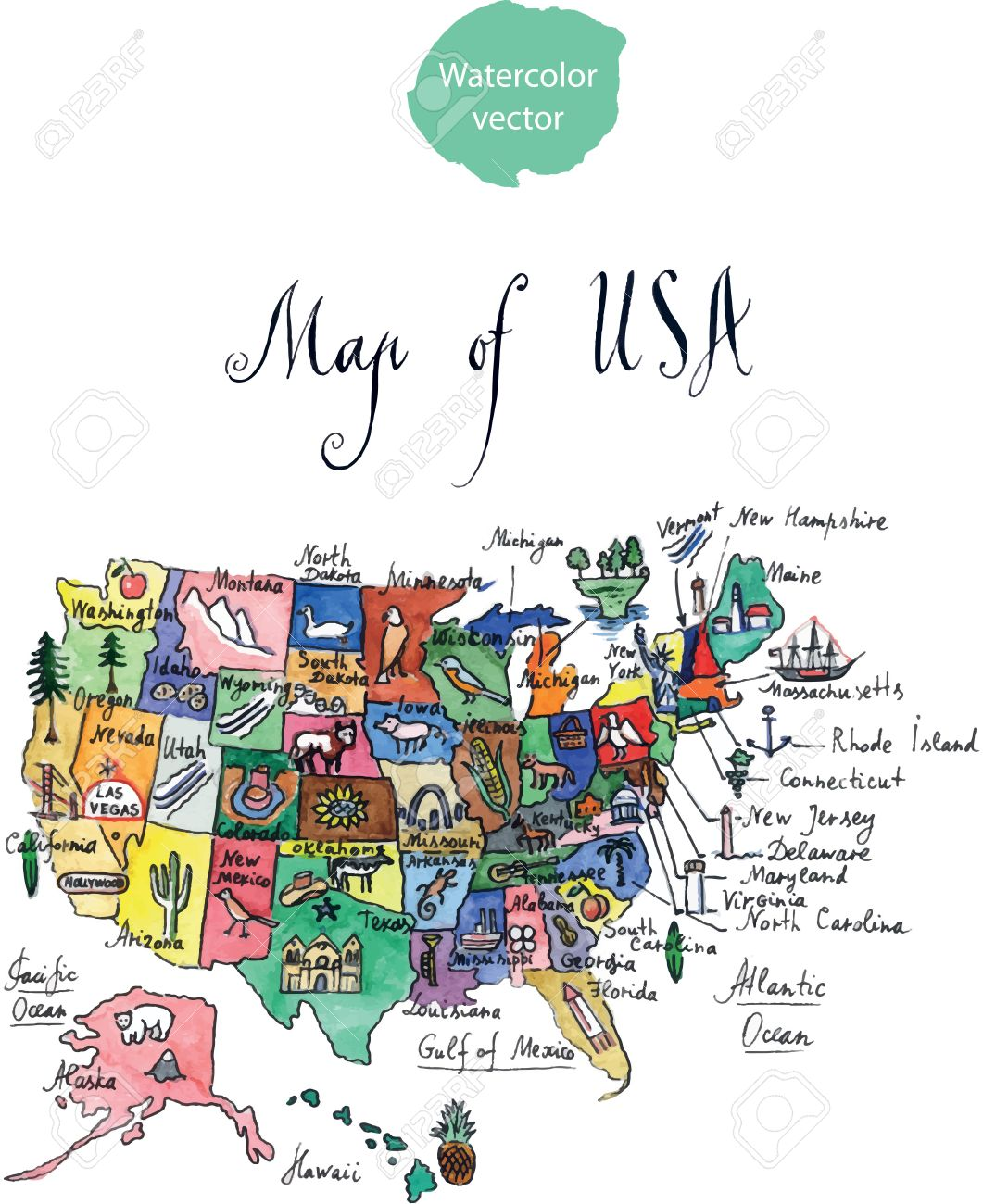 Map Of Attractions Of United States Of America Watercolor Hand - United states watercolor map