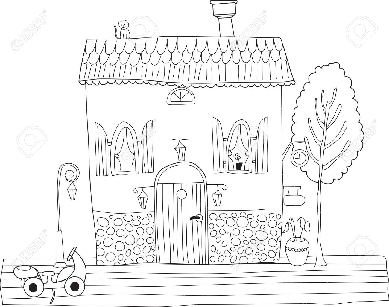Malvorlagen Erwachsene Haus - Kinder zeichnen und ausmalen