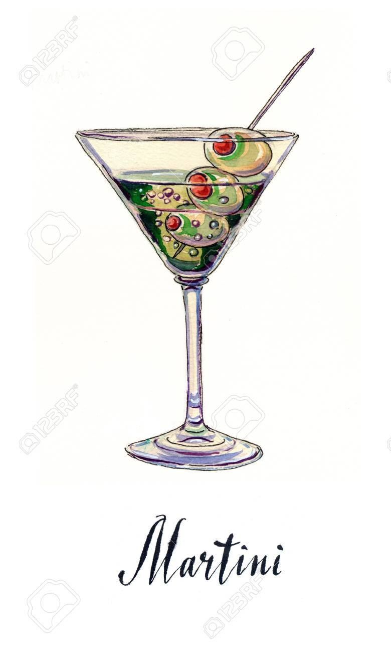 Martini Glass With Green Olives And Toothpick Hand Drawn