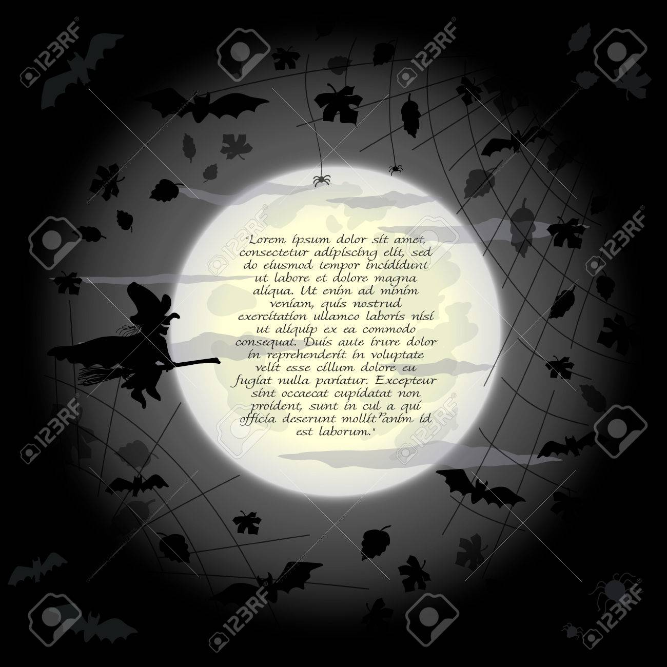 halloween frame with flying witch bats and leaves on full moon