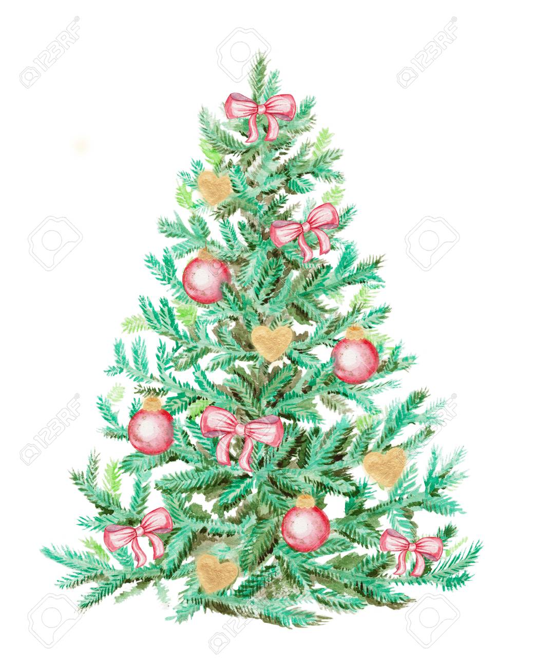 Christmas Tree Bows White.Christmas Tree With Bows And Balls Watercolor Painting Isolated