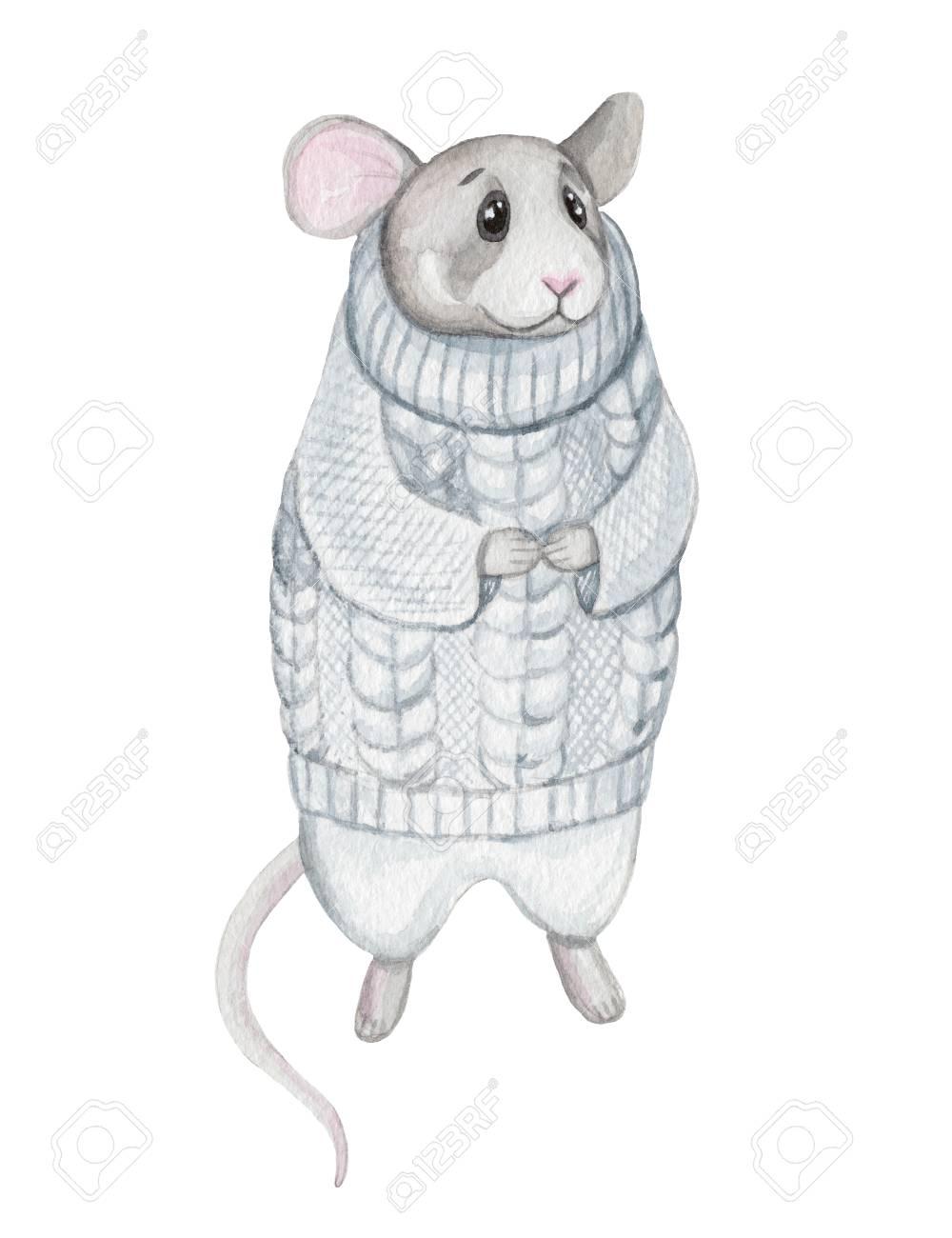 服をマウスします。人間のようなかわいい動物。水彩イラスト