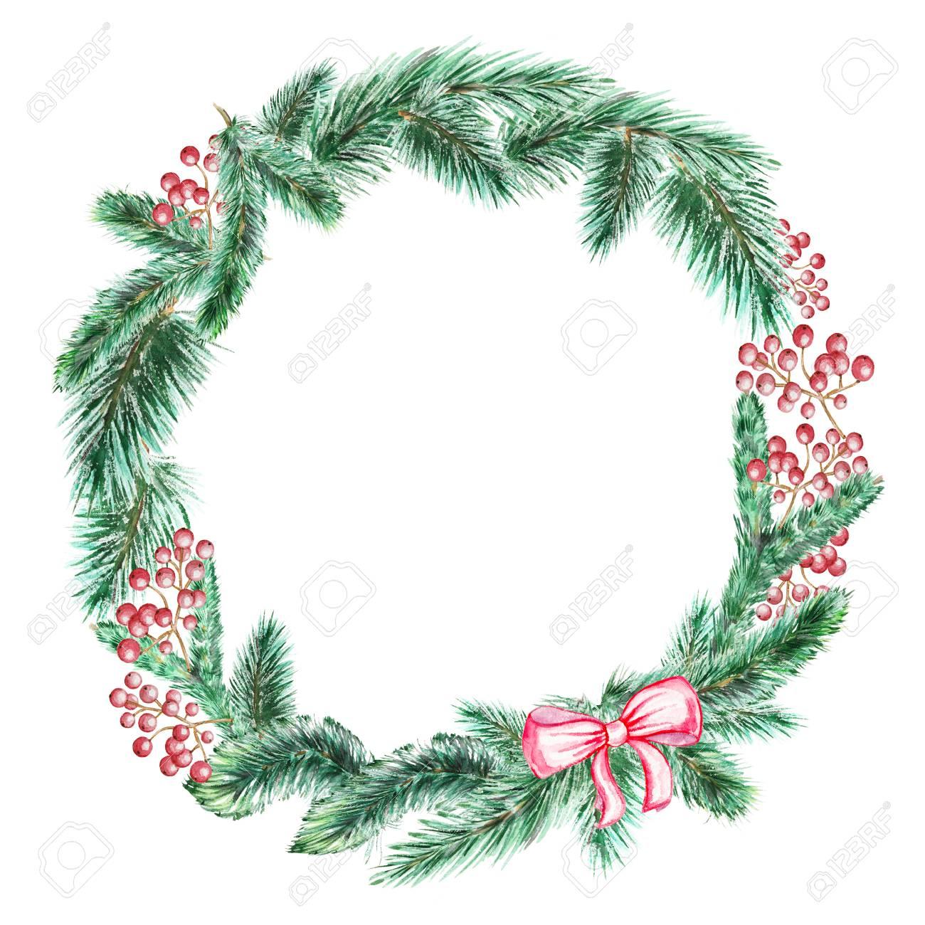 Christmas Wreath Drawing.Stock Illustration