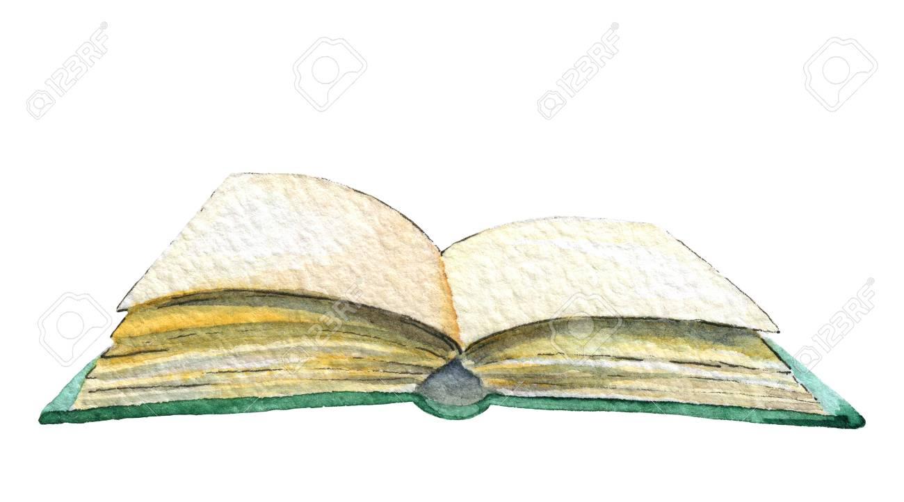The Open Book Isolated On White Background. Watercolor Hand Painted ...