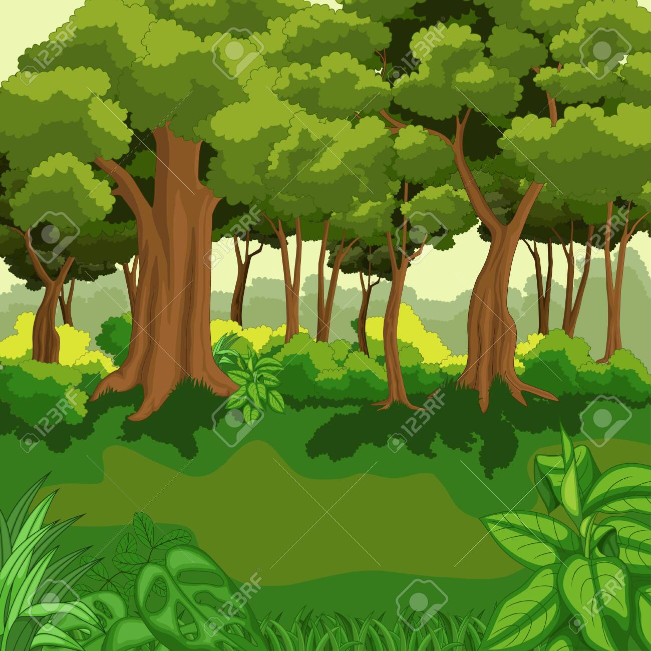 Beautiful green jungle with plants - 156750807