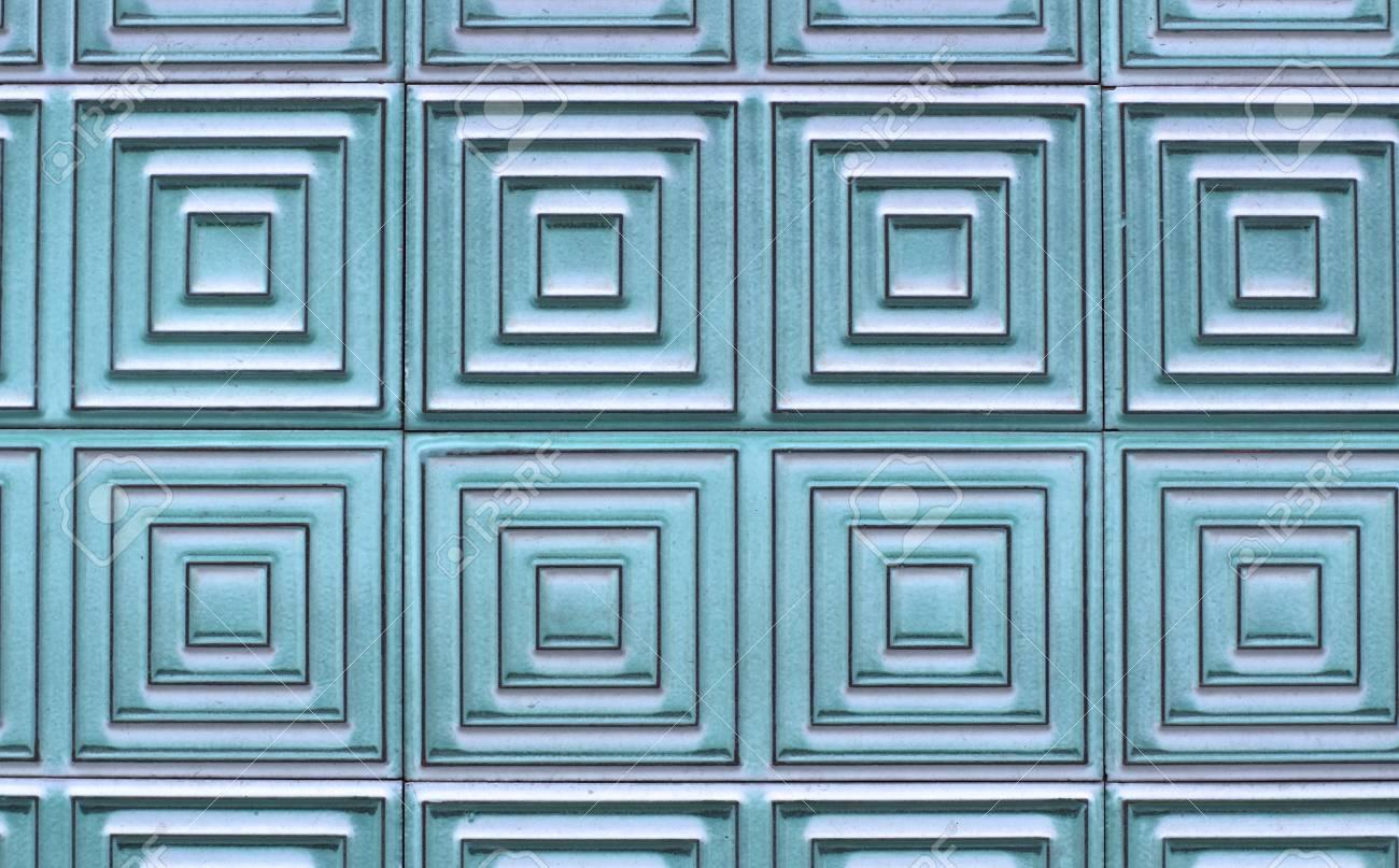 Alte Fliesen An Der Wand Mit Einem Einzigartigen Muster Turkis