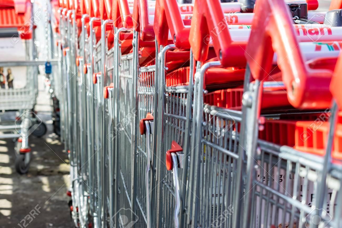 Roncq, FRANCE-February 25,2018: Close-up shopping trolleys Auchan