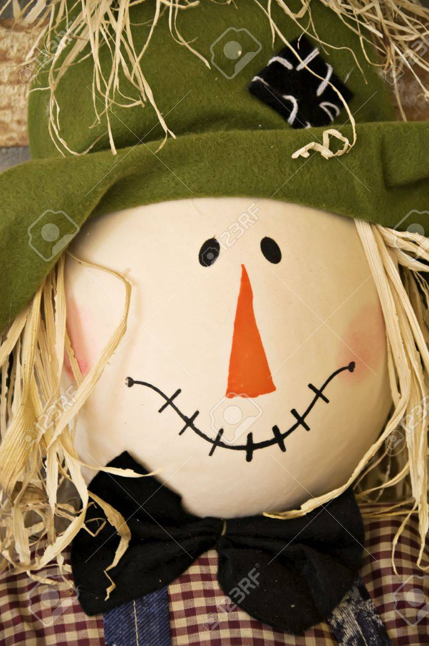 A Close Up Of A Smiling Fall Scarecrow Face Stock Photo Picture And Royalty Free Image Image 3729399