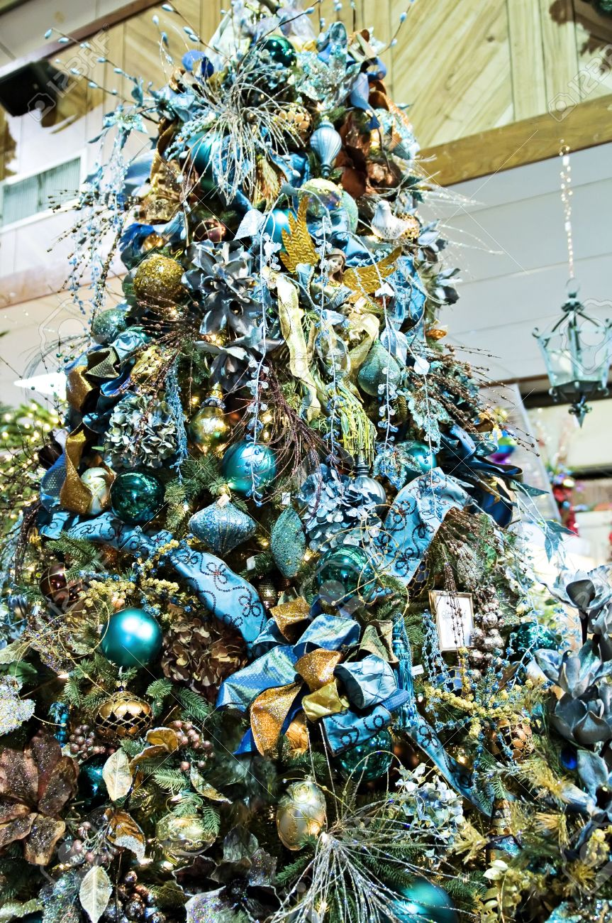 a christmas tree decorated with blue glitz and glitter stock photo 3859613 - Glitter Christmas Tree
