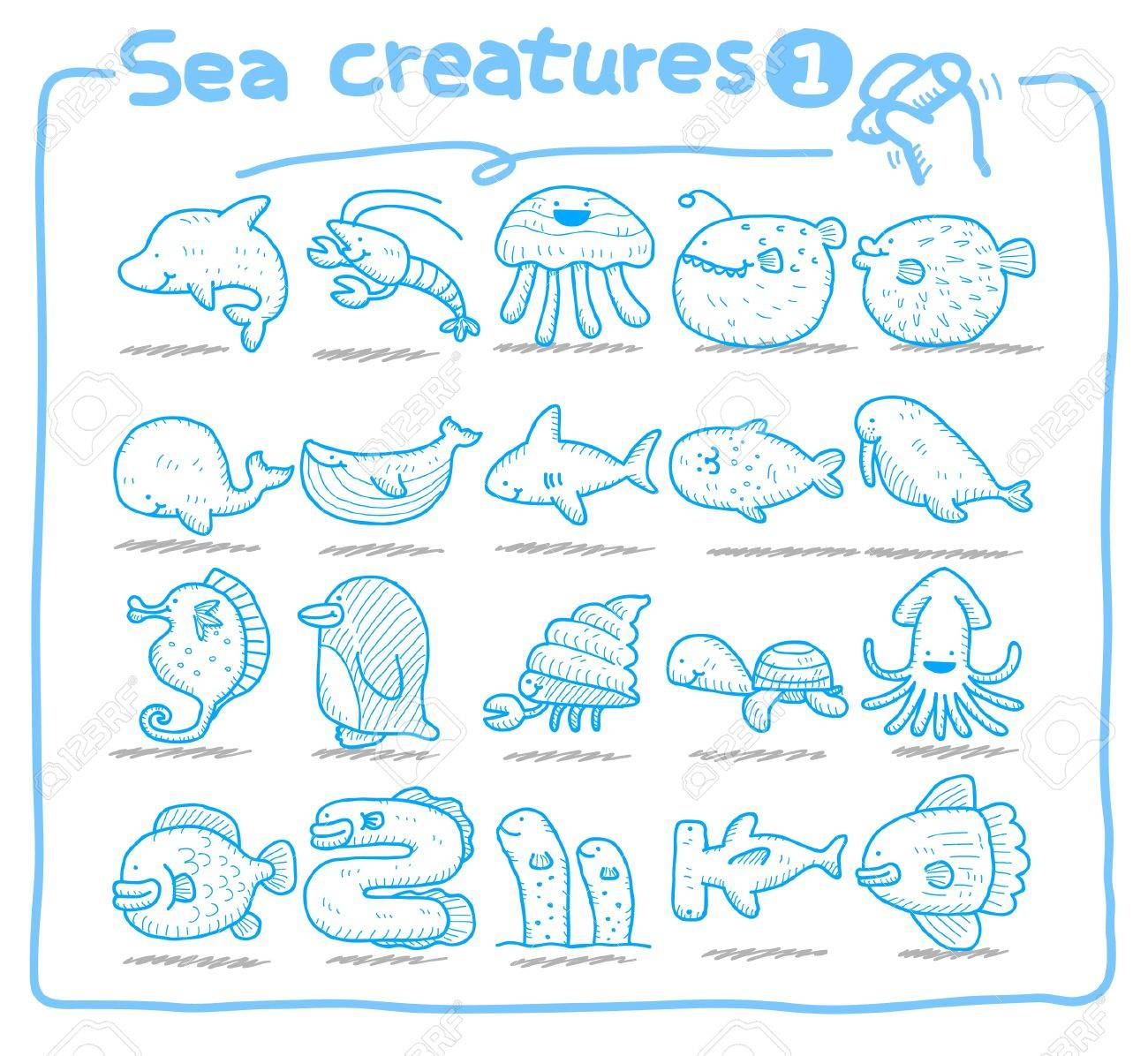 Hand drawn sea creatures icons Stock Vector - 9747338