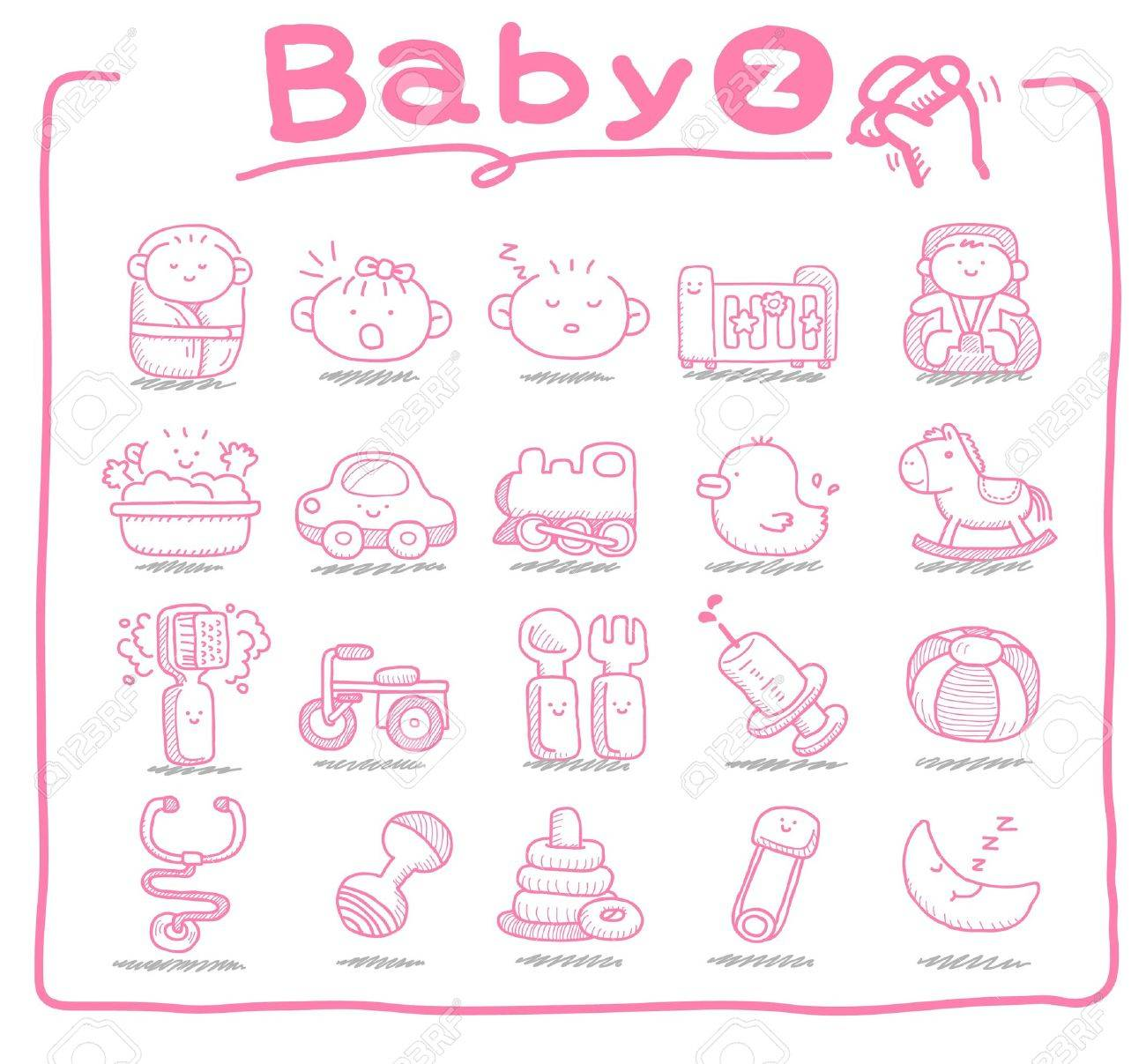 Hand drawn baby icons, baby items, baby toys Stock Vector - 9830360