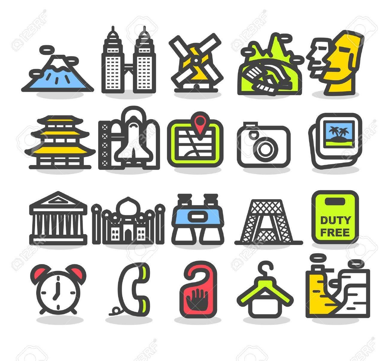 Travel,landmarks,trip,business travel icon set Stock Vector - 10556182
