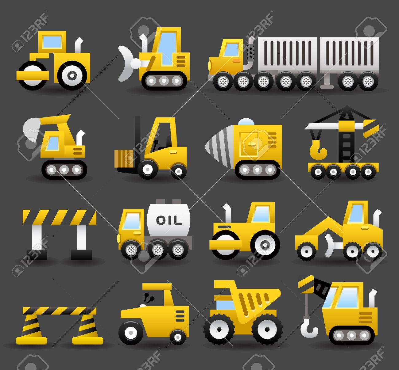 cartoon car,vehicle,machine,transportation icon set Stock Vector - 10556167