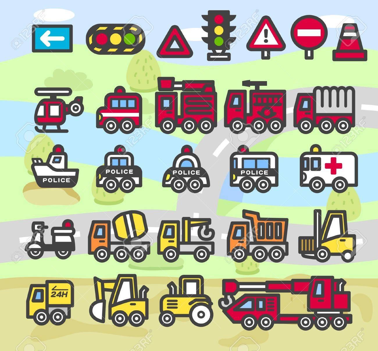 cartoon car,vehicle,transportation emergency icon set Stock Vector - 10556163