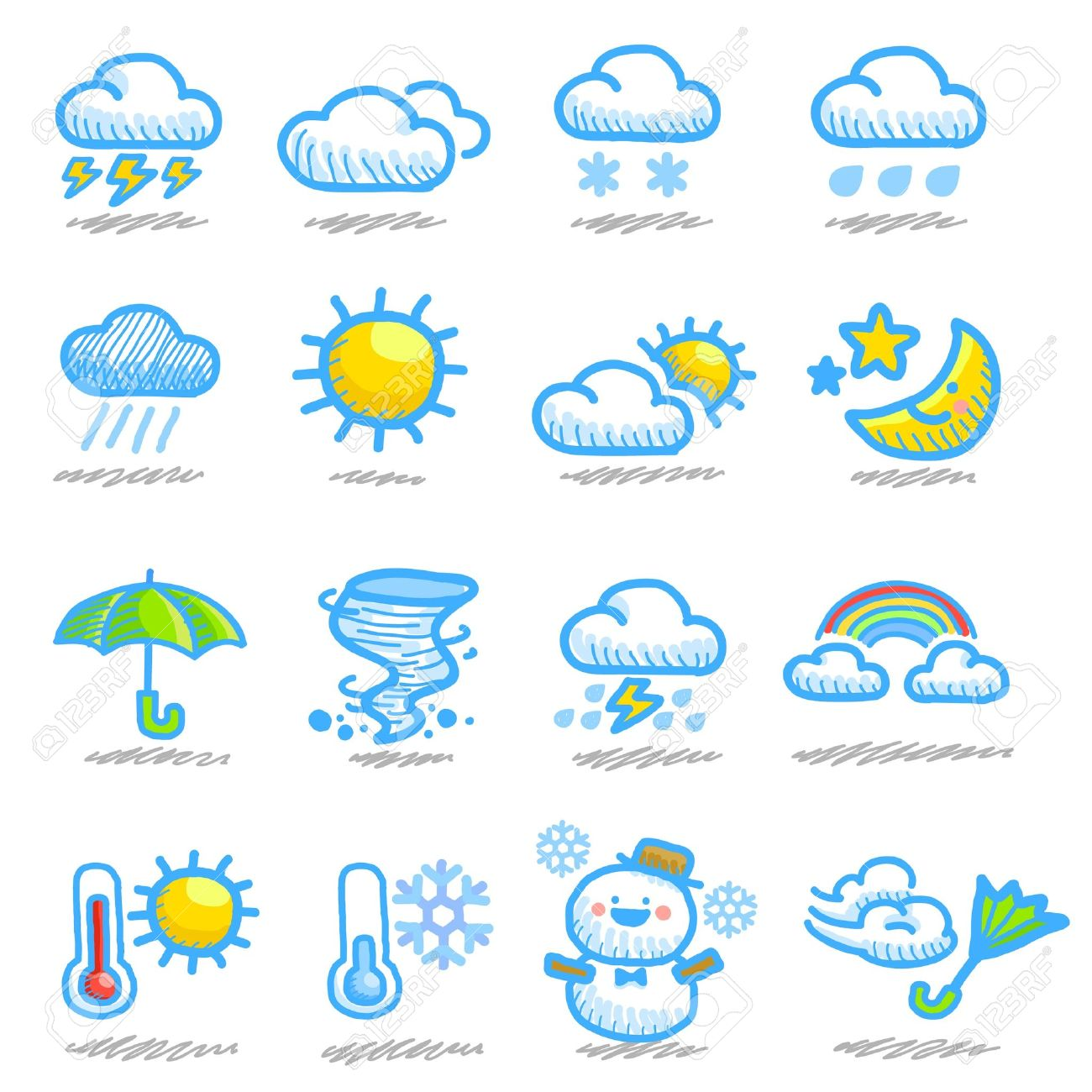 hand drawn weather icon set Stock Vector - 10556184