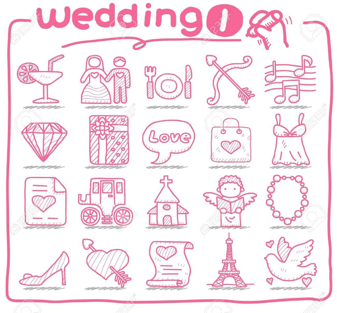 hand drawn wedding icons - 10556196