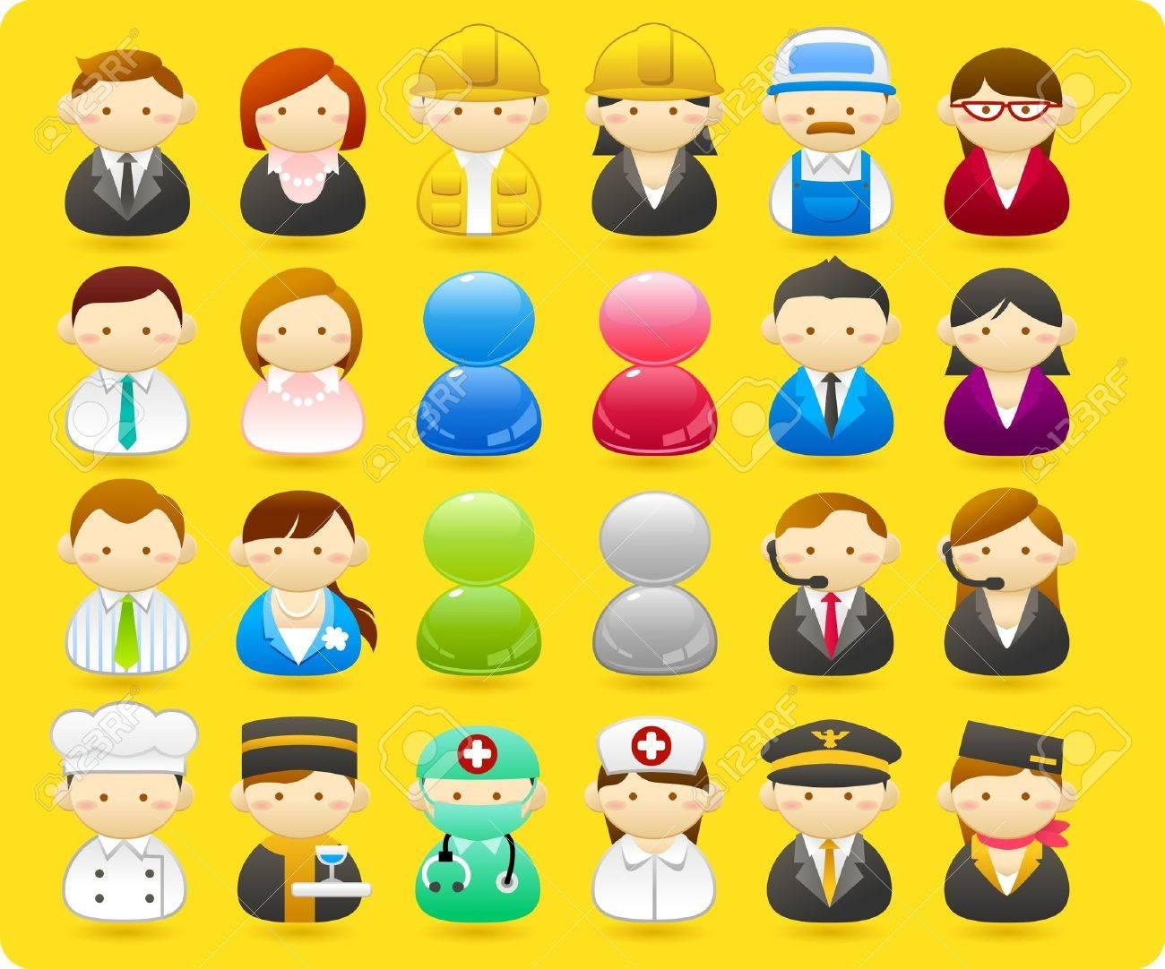 Business people, builders, nurses, doctors, architect. icon set Stock Vector - 10585332