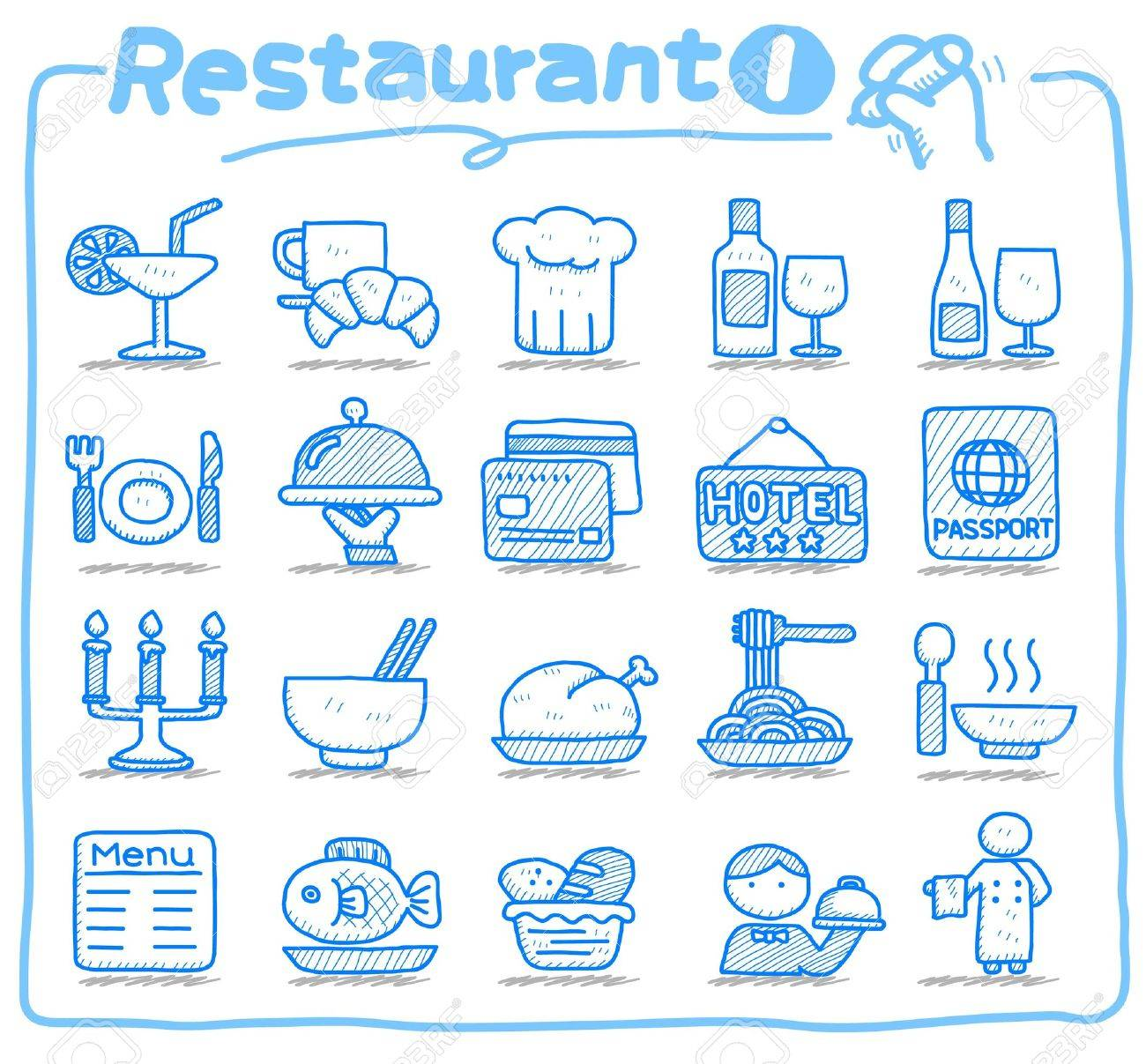 Hand drawn Restaurant Icon set Stock Vector - 10585349