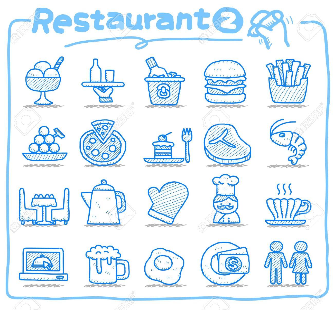 Hand drawn Restaurant Icon set Stock Vector - 10585347