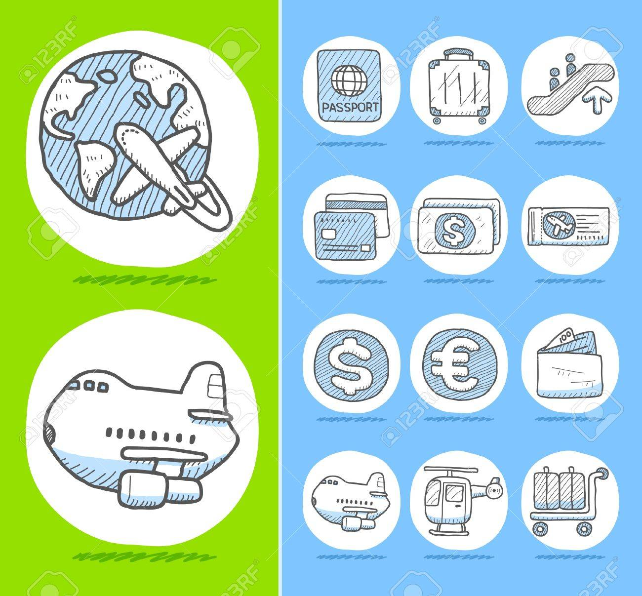 Hand drawn travel icons Stock Vector - 10567285