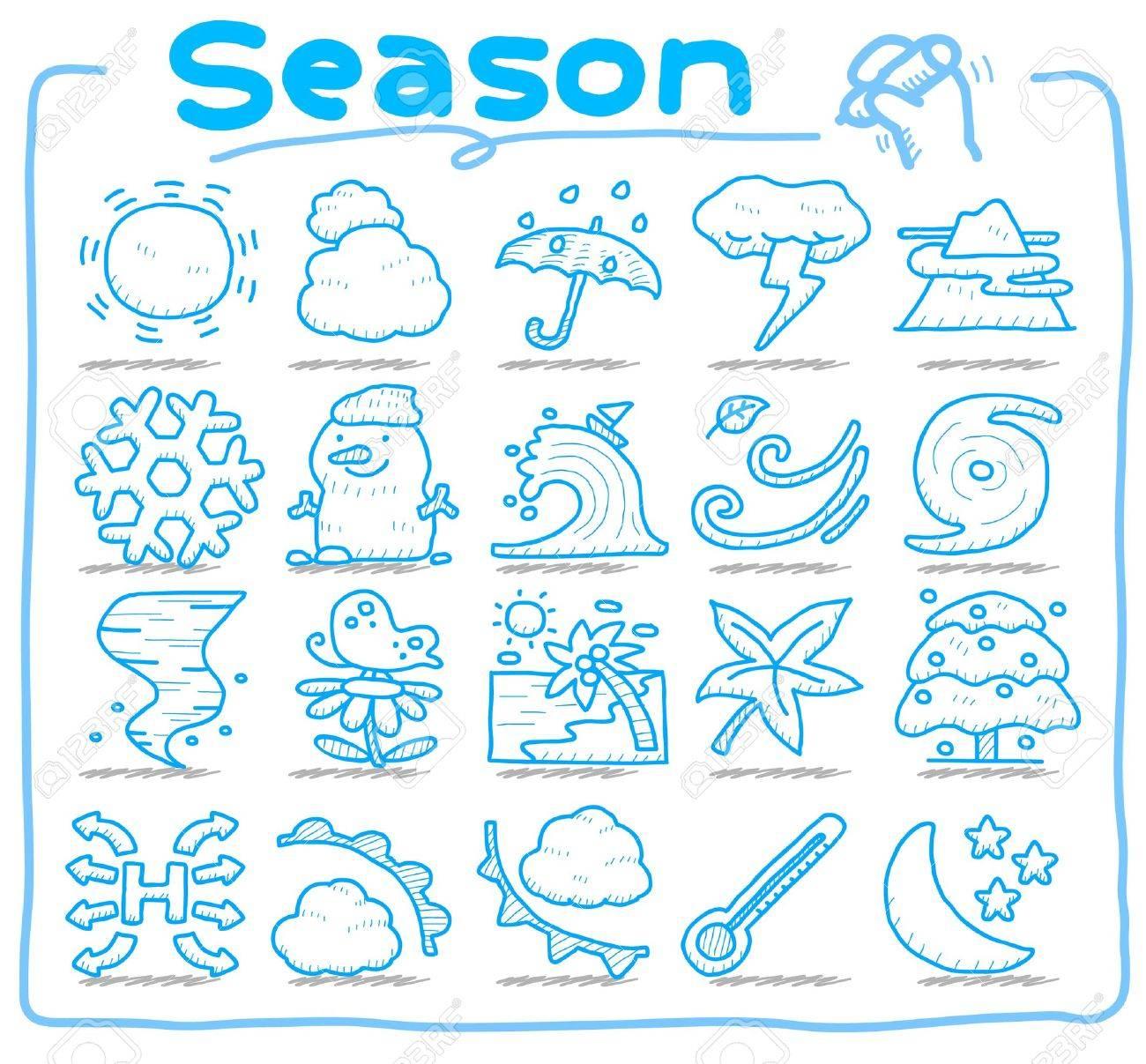 hand drawn season,weather icon set - 10585367
