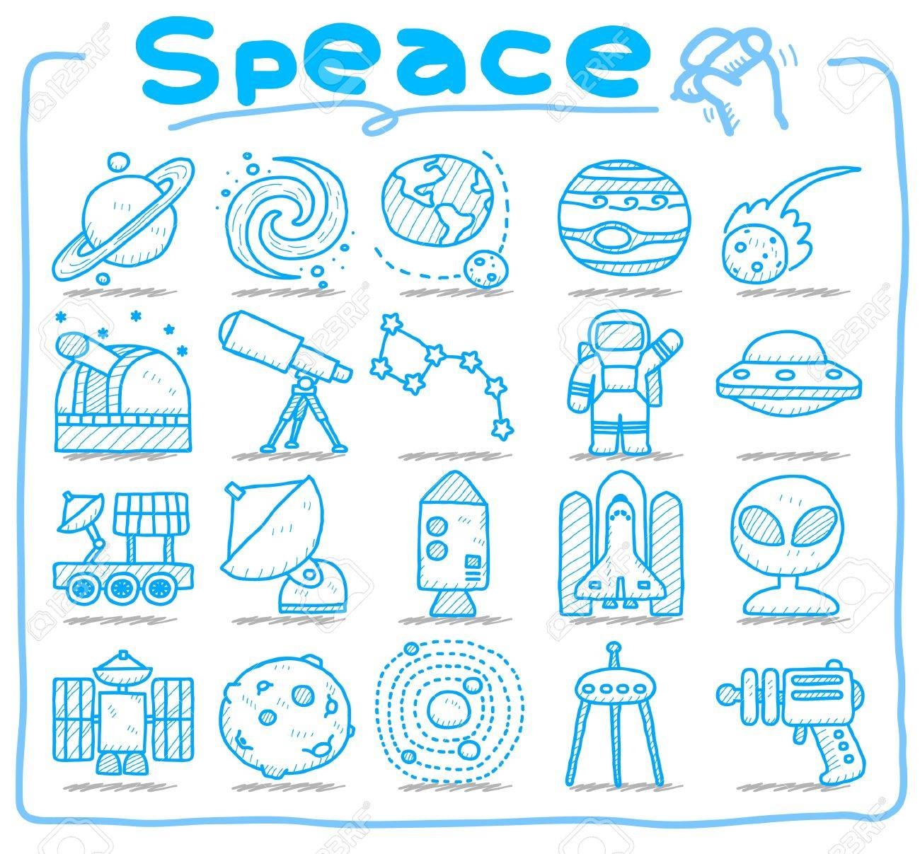 hand draw Universe ,space icon set. Planets solar system icon set Stock Vector - 10585368