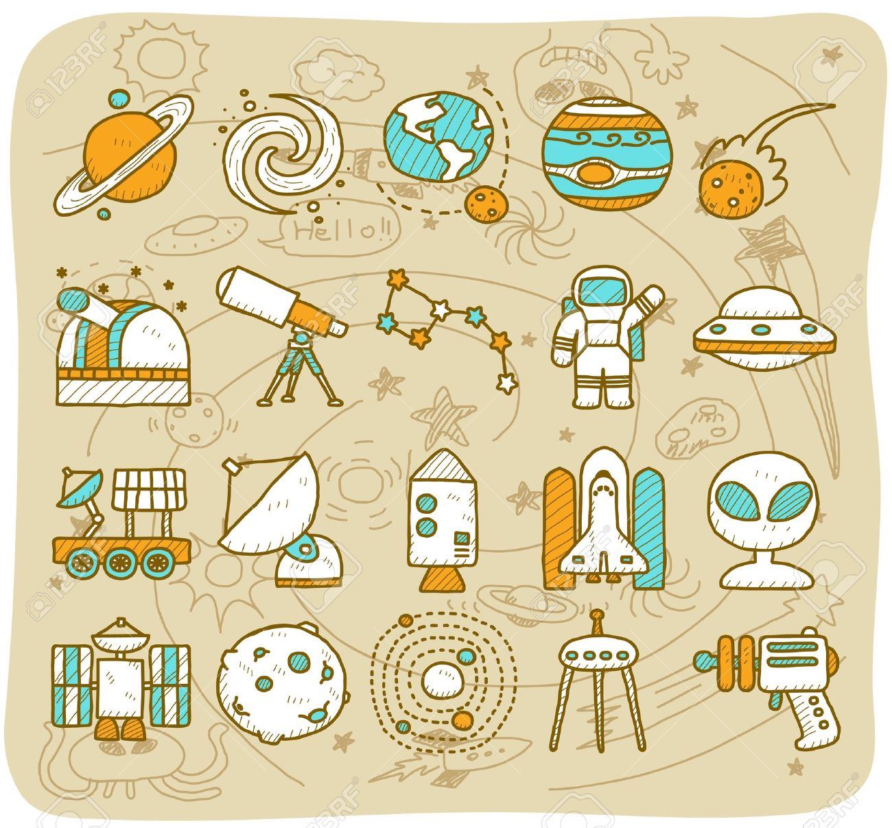 Hand Draw Universe Space Icon Set Planets Solar System Icon