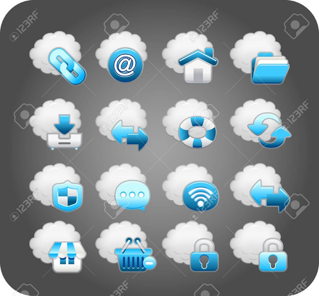 business,cloud computing,network,icon set Stock Vector - 10585374