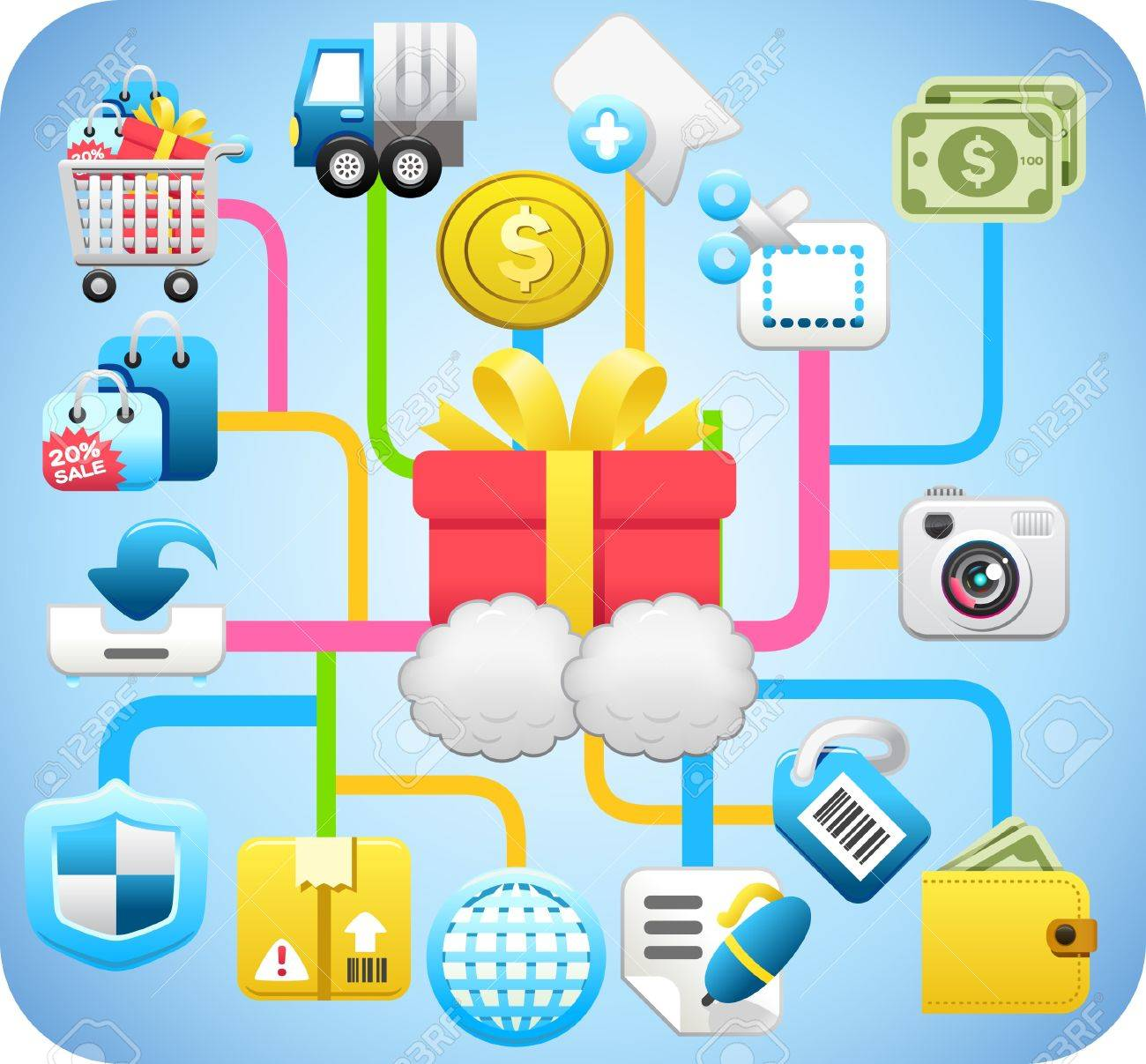 shopping,cloud computing,network concept Stock Vector - 10585369