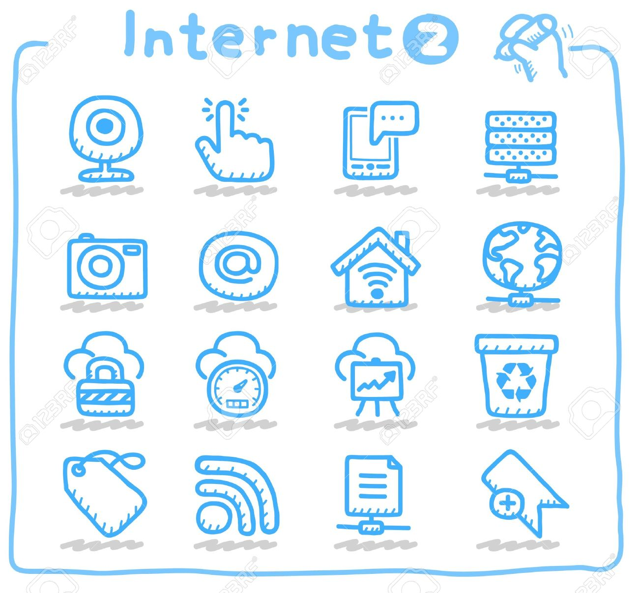internet,business,communication icon set Stock Vector - 10624651