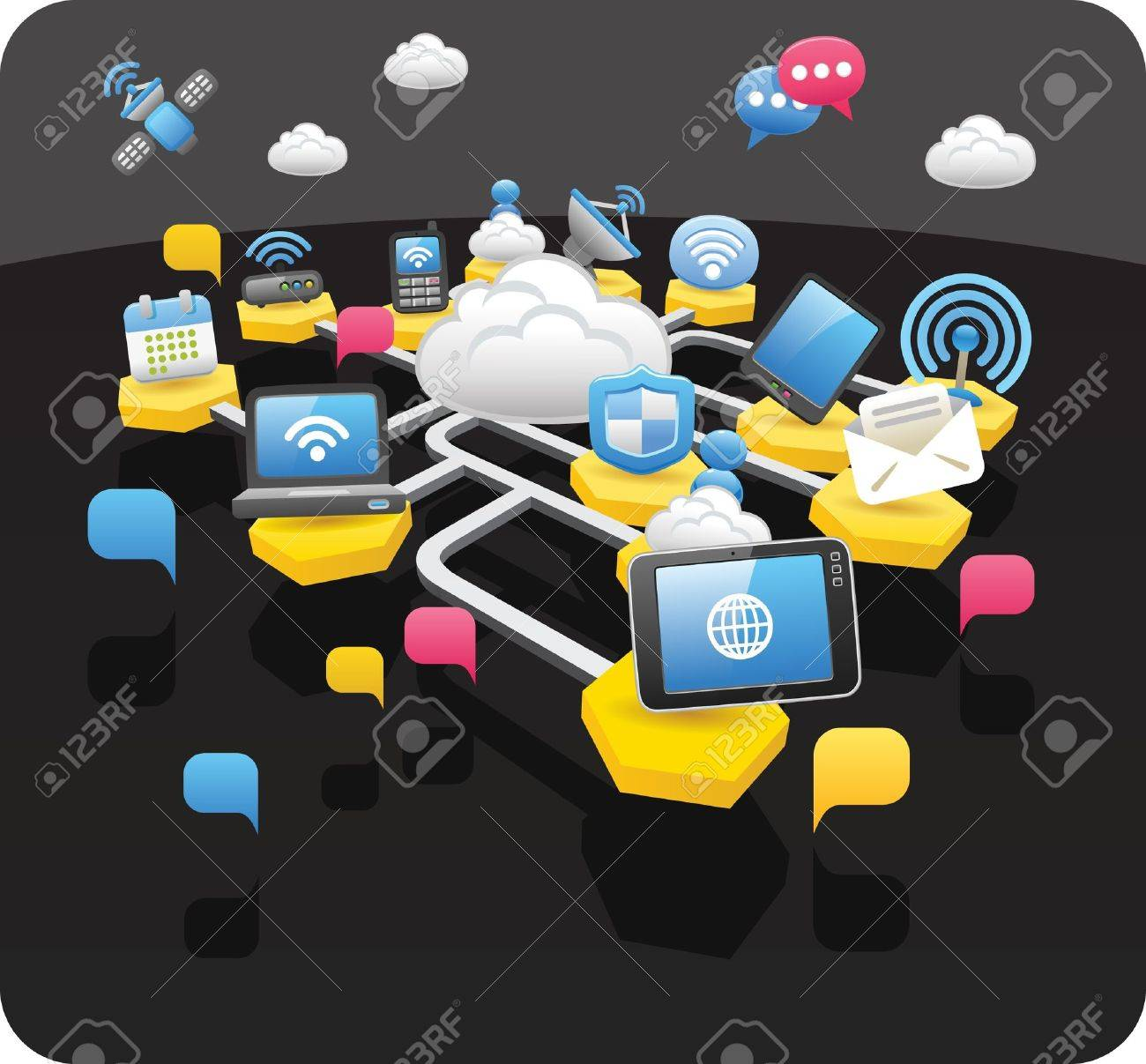 Tablet PC,wireless,cloud computing,communication concept Stock Vector - 10656598