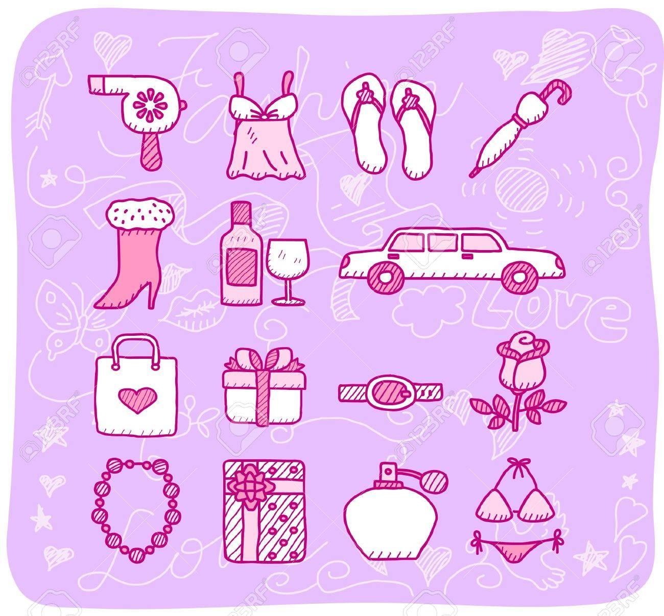 fashion,beauty accessory icon set Stock Vector - 10926411