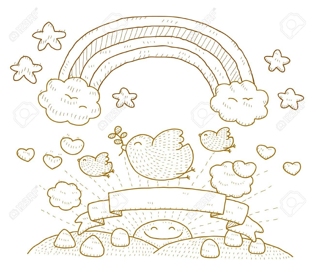 Dove,cloud,rainbow and Simply peace Stock Vector - 10739899