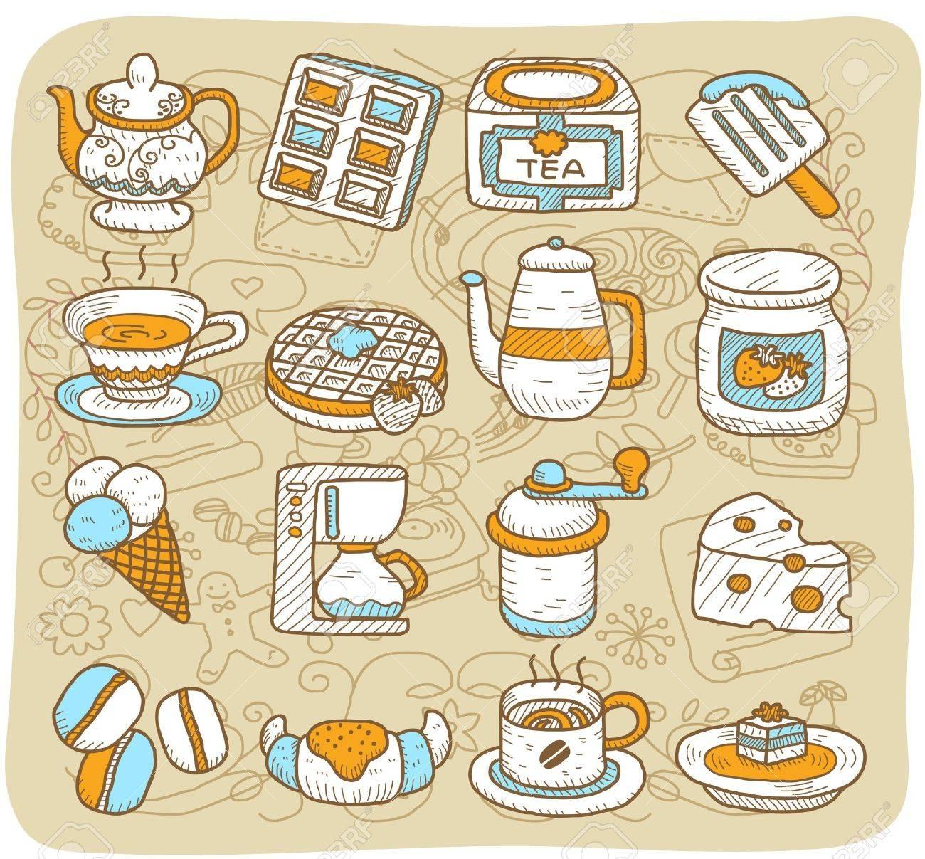 Hand drawn tea time,coffee,food, icon set Stock Vector - 10927182