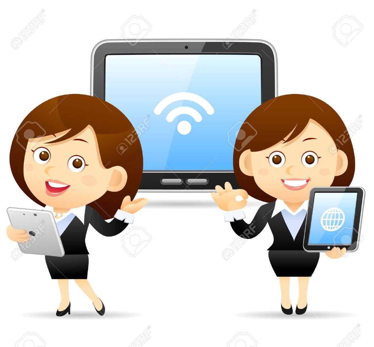 Businesswoman ,tablet PC concept Stock Vector - 10926314