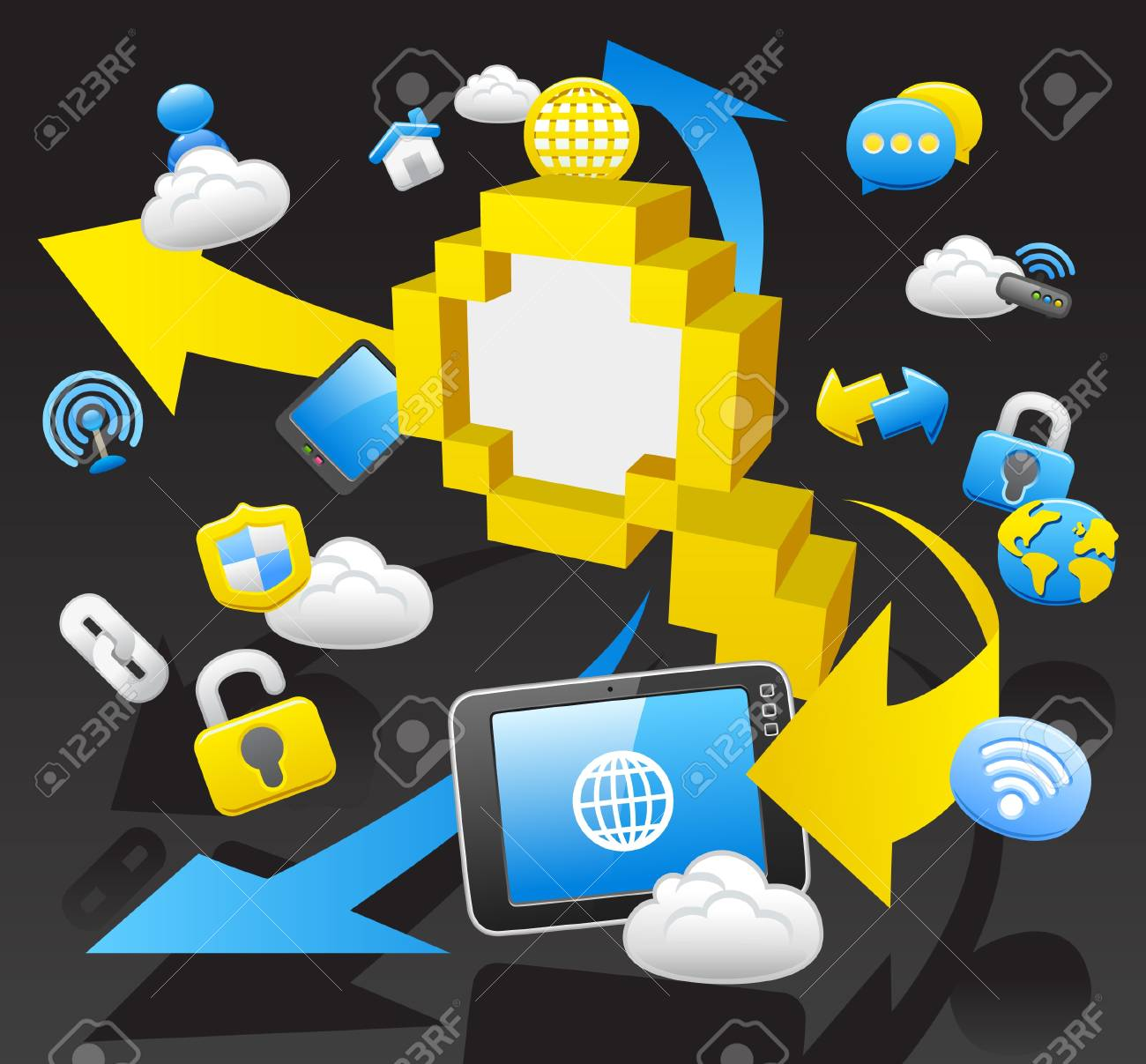 business,internet,computing,cloud computing,tablet PC concept. Stock Vector - 10927229