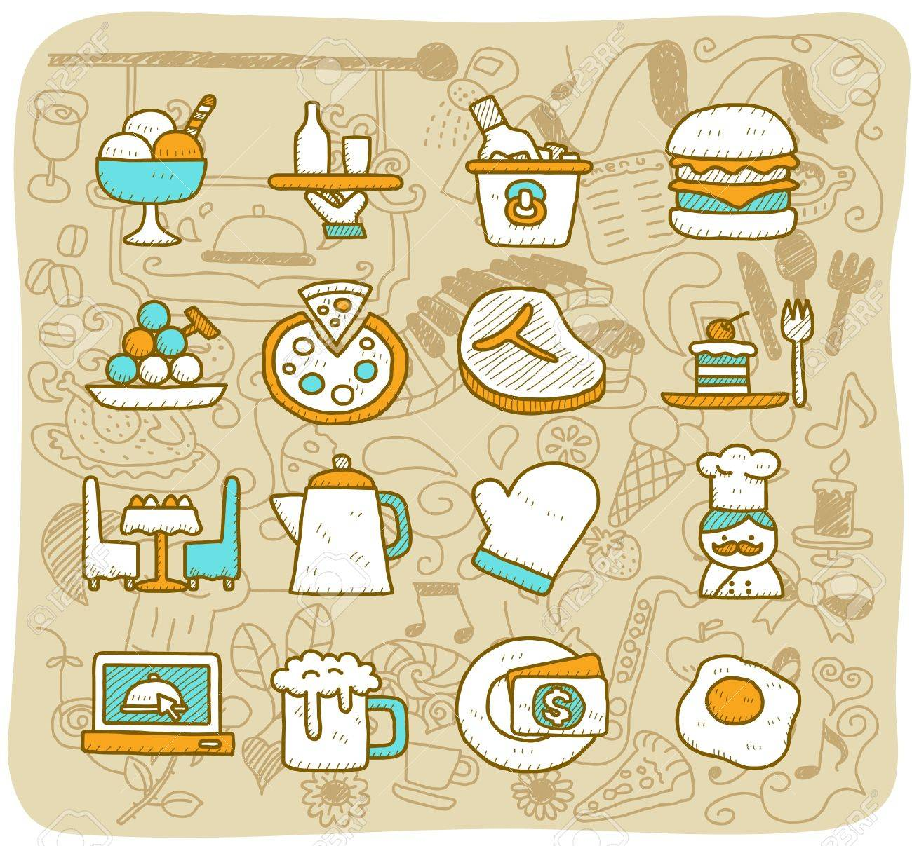 Hand drawn restaurant,food, travel icon set Stock Vector - 11038018