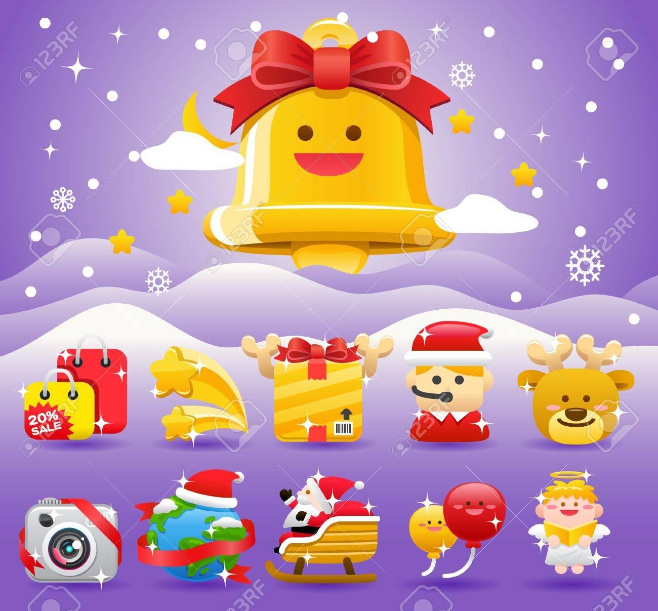 christmas,Xmas icon & background collection Stock Vector - 11110868